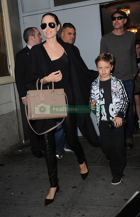 June 19, 2016 - New York, NY, USA - June 19, 2016 New York City..Angelina Jolie, Knox Leon Jolie-Pitt  and James Haven were seen leaving a performance of the play Hamilton on Broadway in New York City on June 19, 2016. (Credit Image: © Callahan/Ace Pictures via ZUMA Press)