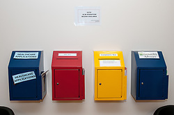 Letter boxes on young offenders institution landing, HMYOI Wetherby