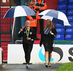 Team GB Olympic Hockey Gold Medalist and Oldham Athletic fan Nicola White shows off her medal to the fans before kick off  - Mandatory by-line: Matt McNulty/JMP - 03/09/2016 - FOOTBALL - Sportsdirect.com Park - Oldham, England - Oldham Athletic v Shrewsbury Town - Sky Bet League One