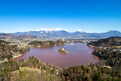 Severe algal blooms on Lake Bled, on March 19, 2020 in Bled, Slovenia. Photo by Matic Klansek Velej / Sportida