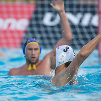 Norbert Madaras of Hungary passes the ball during the Vodafone Waterpolo Cup in Budapest, Hungary on July 15, 2012. ATTILA VOLGYI