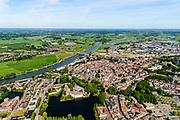 Nederland, Gelderland, Gemeente Zutphen, 17-07-2017; overzicht van de binnenstad met Sint Walburgiskerk en Librije, linksonder gevangenis en rechtbank, boven in beeld het station, spoorbrug over de IJssel (IJsselkade) . Overview of the town with St. Walburga Church and Librije (medieval library). River IJssel with next to the railway bridge the station<br /> <br /> luchtfoto (toeslag op standard tarieven);<br /> aerial photo (additional fee required);<br /> copyright foto/photo Siebe Swart