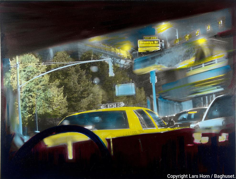 NYC in Colors.  Horn/Andersen<br /> Taxi 8Y34  100x130 Kr.   14.000,-<br /> Solgt / Sold<br /> Foto: © Lars Horn / Baghuset<br /> Date : 15.07.13