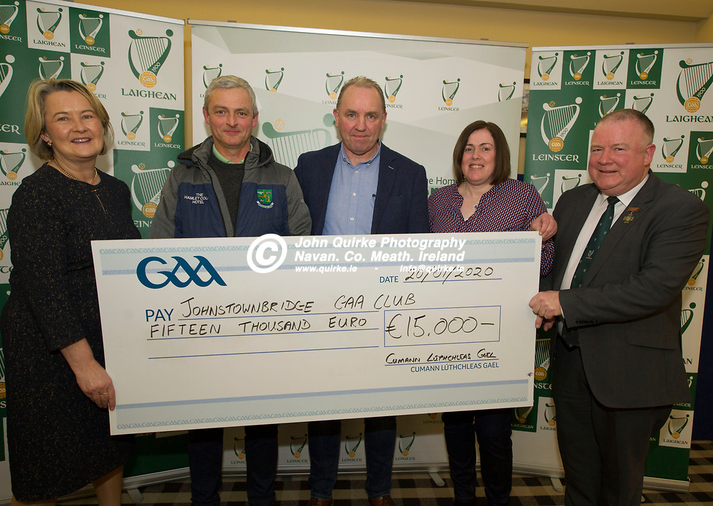 20-01-20. Leinster GAA Club Development Grant Cheque Presentations (See Press Release) at Aras Laighean, Portlaoise.<br /> GAA National Finance Manager Kathy Slattery and Jim Bolger (Right), Cathoirleach, Comhairle Laighean pictured presenting a cheque for €15,000 to Johnstownbridge GAA Club. Co. Kildare represented by from left, John Cooney, Chairman. P.J. Doran, Vice Chairman and Patria Dobbins, Development Officer, Kildare GAA.<br /> Photo: John Quirke / www.quirke.ie<br /> ©John Quirke Photography, Unit 17, Blackcastle Shopping Cte. Navan. Co. Meath. 046-9079044 / 087-2579454.