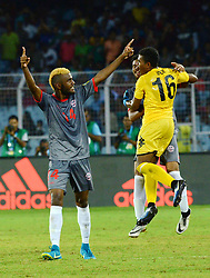October 14, 2017 - Kolkata, West Bengal, India - New Caledonia player celebrates their goal during the Japan and New Caledonia Group E match in Kolkata. Player of Japan and New Caledonia in action during the FIFA U 17 World Cup India 2017 Group F match on October 14, 2017 in Kolkata. (Credit Image: © Saikat Paul/Pacific Press via ZUMA Wire)