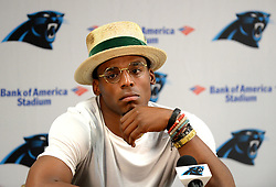 July 27, 2017 - Spartanburg, SC, USA - Carolina Panthers quarterback Cam Newton listens to a reporter's question during a player availability session on Thursday, July 27, 2017 at Wofford College in Spartanburg, S.C. (Credit Image: © Jeff Siner/TNS via ZUMA Wire)