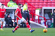Ryan Hedges of Barnsley (7) passes the ball during the EFL Sky Bet League 1 match between Barnsley and Wycombe Wanderers at Oakwell, Barnsley, England on 16 February 2019.