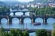 Five of the 18 bridges across the Vltava River in Prague, Czech Republic