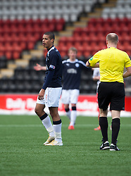 Falkirk's Lyle Taylor reacts to the ref Matt Northcroft as he gets a second yellow card and is sent off..Airdrie United 0 v 1 Falkirk, 30/3/2013..©Michael Schofield..
