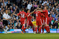 09.05.2011, Craven Cottage, London, ENG, PL, FC Fulham vs FC Liverpool, im Bild Liverpool's Maxi Rodriguez celebrates with his team mates after scoring his and Liverpools second goal, English Premier League, Fulham v Liverpool,  Craven Cottage, London, 09/05/2011. EXPA Pictures © 2011, PhotoCredit: EXPA/ IPS/ Mark Greenwood +++++ ATTENTION - OUT OF ENGLAND/UK and FRANCE/FR +++++