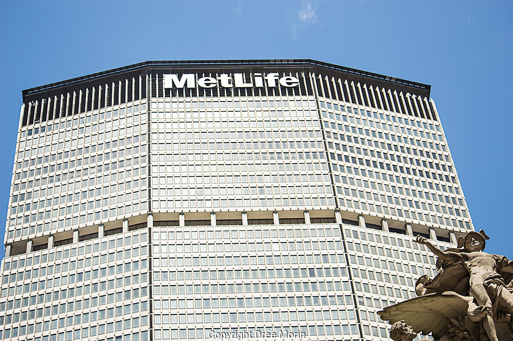 MetLife building with Grand Central Station's Mercury statue, New York city.