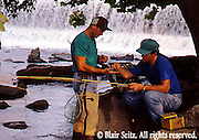 Fishing, Pennsylvania Outdoor recreation, Fishing Men Trout Fishing in Yellow Breeches Creek, Cumberland Co., PA