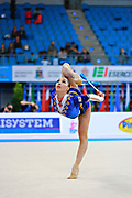 Pazhava Salome during qualifying at clubs in Pesaro World Cup at Adriatic Arena on 11 April 2015. Salome was born on September 3 1997 in Tbilisi. She is a Georgian individual rhythmic gymnast.