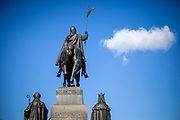 The Statue of Saint Wenceslas and cloud Nr. 9 at Wenceslas Square. On March 1st, 2021 the state of emergency in the Czech Republic was reinstalled because of fast increasing numbers in infections. The lockdown was reinstated and the restriction of the free movement of people has taken effect. Currently, the country remains at the highest stage of the anti-epidemiological system and the newly imposed restriction will last at least three weeks to curb the epidemic.