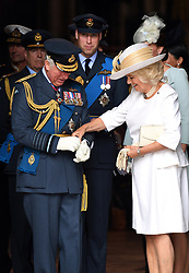 Charles, Prince of Wales (left) and Camilla, Duchess of Cornwall during the RAF Centenary at Buckingham Palace, London. Photo credit should read: Doug Peters/EMPICS