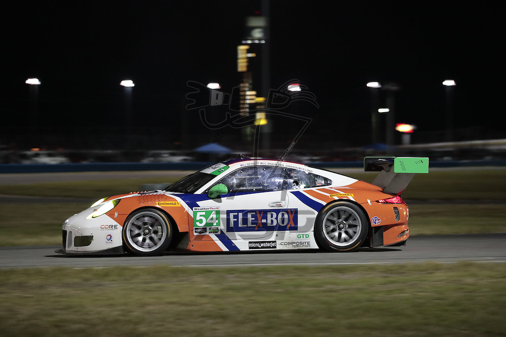 January 07, 2017 - Daytona Beach, Florida, USA:  The CORE autosport Composite Resources Porsche 911 GT3 R races through the turns at the Roar Before The Rolex 24 at Daytona International Speedway in Daytona Beach, Florida.