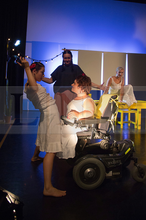 """© Licensed to London News Pictures. 05/10/2015. London, UK. L-R: Nicole Guarino, Yvonne Strain, Caroline Bowditch and Welly O'Brien. Caroline Bowditch's """"Falling in Love with Frida"""" explores the life, loves and legacy of disabled artist Frida Kahlo at the Lilian Baylis Studio/Sadler's Wells on 5-6 October 2015. Performed by Caroline Bowditch, Welly O'Brien, Nicole Guarino and Yvonne Strain (sign language interpreter). Photo credit: Bettina Strenske/LNP"""