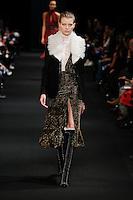 Saara Sihvonen (SUPREME) walks the runway wearing Altuzarra Fall 2015 during Mercedes-Benz Fashion Week in New York on February 14, 2015