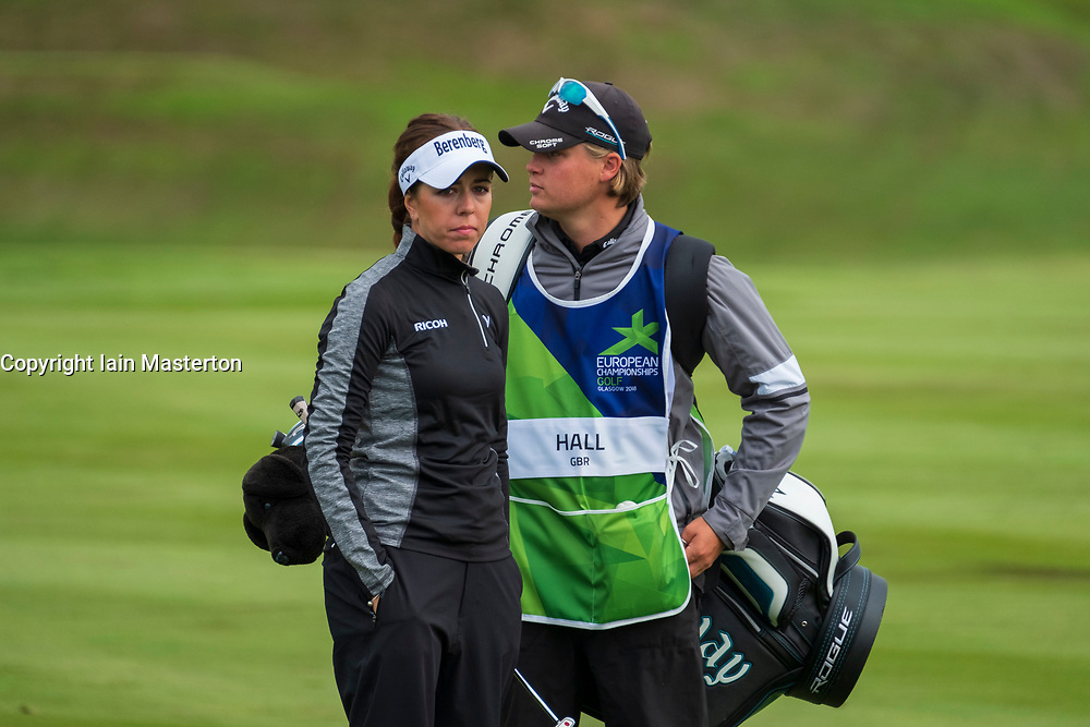 Gleneagles, Scotland, UK; 10 August, 2018.  Day three of European Championships 2018 competition at Gleneagles. Men's and Women's Team Championships Round Robin Group Stage. Four Ball Match Play format.  Pictured; Georgia Hall of GB and caddie during match against Belgium.