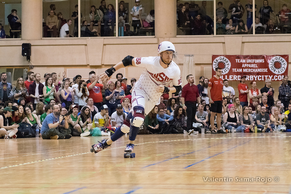 Barcelona, Spain. 08th April, 2018. Jammer of Team USA, #3158 B. Stang, during the final against England at MRDWC2018. © Valentin Sama-Rojo.
