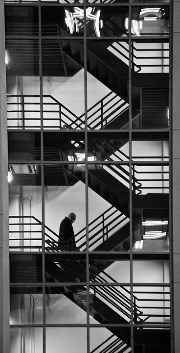 Stairwell, parking structure, downtown Anchorage