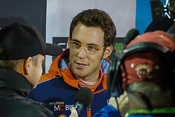 October 26, 2017 - Deeside, Wales, United Kingdom - 5 Thierry Neuville (BEL) of Hyundai Motorsport speaks to the media prior to the Rally GB round of the 2017 FIA World Rally Championship. (Credit Image: © Hugh Peterswald/Pacific Press via ZUMA Wire)