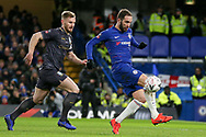Sheffield Wednesday defender Tom Lees (15) chases Chelsea Forward Gonzalo Higuain on loan from Juventus during the The FA Cup fourth round match between Chelsea and Sheffield Wednesday at Stamford Bridge, London, England on 27 January 2019.