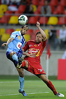 FOOTBALL - FRENCH CHAMPIONSHIP 2010/2011 - L2 - LEMANS FC v LE HAVRE AC - 18/04/2011 - PHOTO JEAN MARIE HERVIO / DPPI - THORSTEIN HELSTAD (LMFC) / LOIC NESTOR (HAC)