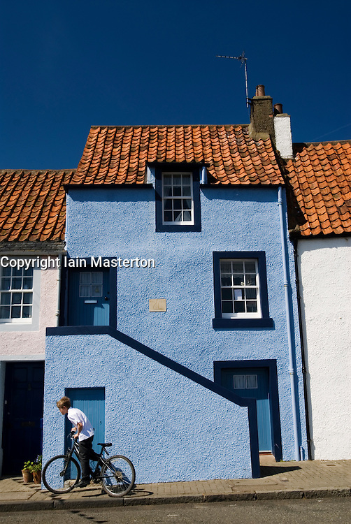 Historic painted houses in fishing village of St Monans in East Neuk of Fife in scotland