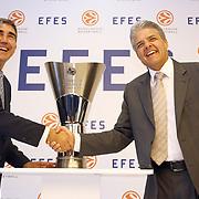 Jordi Bertomeu, CEO of Euroleague Basketball (L) and Alejandro Jimenez (R), Anadolu Efes Beer Group President Efes Pilsen and Euroleague Basketball Press Conference at Ciragan Palace Kempinksi at Istanbul, Turkey 09 May 2012. Photo by TURKPIX