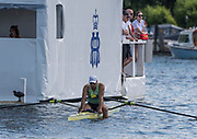 Henley-on-Thames. United Kingdom. Diamond Challenge Sculls. John GRAVES, dissapointed at the loss in the final.  2017 Henley Royal Regatta, Henley Reach, River Thames. <br /> <br /> <br /> 16:29:50  Sunday  02/07/2017   <br /> <br /> [Mandatory Credit. Peter SPURRIER/Intersport Images.