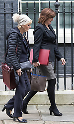 Downing Street, London, November 17th 2015. Education Secretary Nicky Morgan leaves 10 Downing Street with Small Business Minister Anna Soubry following the weekly cabinet meeting.