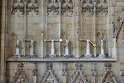 """York Minster's Semaphore Saints, a 2004 sculpture by Terry Hammill, spell the message """"Christ is here"""" across two sets. York Minster, built over 250 years 1220-1472 AD, is one of the finest medieval buildings in Europe. Also known as St Peter's, its full name is """"Cathedral and Metropolitical Church of St Peter in York,"""" located in England, United Kingdom, Europe. York Minster is the seat of theArchbishop of York, the second-highest office of theChurch of England.""""Minster"""" refers to churches established in the Anglo-Saxon period as missionary teaching churches, and now serves as an honorific title.York was founded by the Romans as Eboracum in 71 AD. As the center of the Church in the North, York Minster has played an important role in great national affairs, such as during the Reformation and Civil War."""