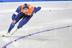 February 23, 2018 - Pyeongchang, Gangwon, South Korea - Kjeld Nuis of Netherlands.winning the gold medal at 1000 meter speedskating at winter olympics, Gangneung South Korea on February 23, 2018. (Credit Image: © Ulrik Pedersen/NurPhoto via ZUMA Press)
