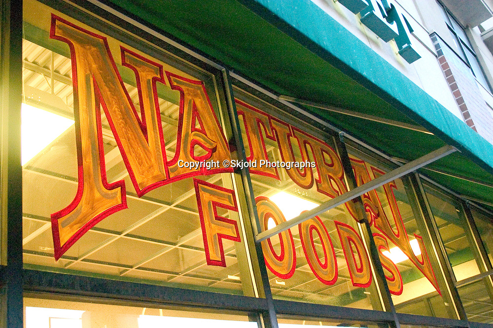 Natural Foods sign on the exterior of the Mississippi Market a natural foods co-op located at Dale and Selby in the regentrified inner city area.  St Paul Minnesota USA
