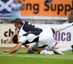Ryan Flynn cele scoring Falkirk's goal.<br /> Falkirk 1 v 0 FC Vaduz, Europa League Qualifying.<br /> ©2009 Michael Schofield. All Rights Reserved.