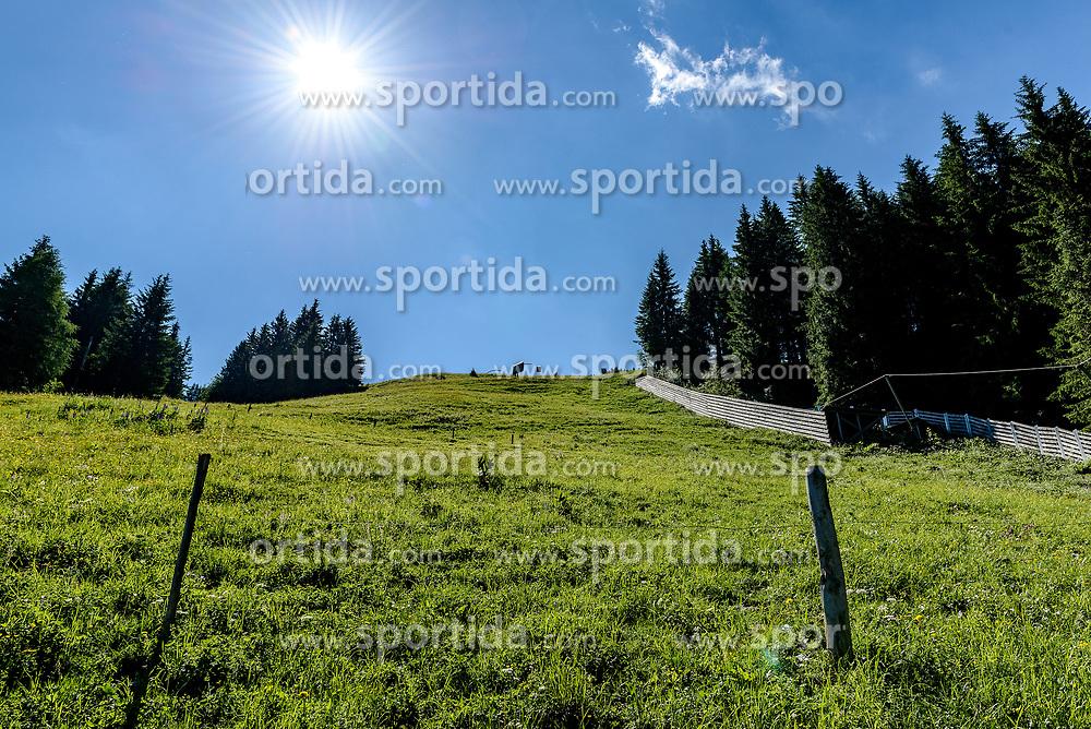 THEMENBILD - Der Blick den Steilhang hinauf, aufgenommen am 26. Juni 2017, Kitzbühel, Österreich // The view up the steep slope at the Streif, Kitzbühel, Austria on 2017/06/26. EXPA Pictures © 2017, PhotoCredit: EXPA/ Stefan Adelsberger