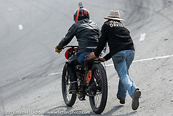 Matt Walksler gives a push start to Ken Curtis on his 61 ci racer in the Sons of Speed Vintage Motorcycle Races at New Smyrina Speedway. New Smyrna Beach, USA. Saturday, March 9, 2019. Photography ©2019 Michael Lichter.