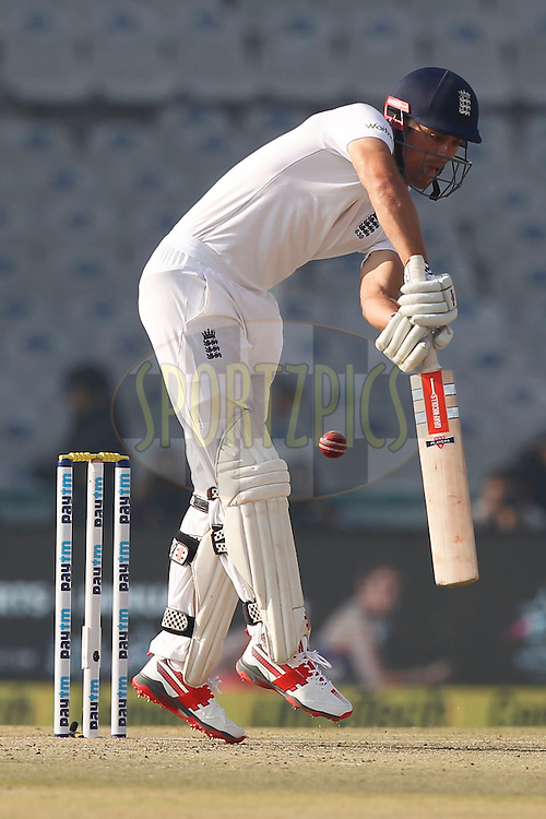 Alastair Cook Captain of England reacts during day 1 of the third test match between India and England held at the Punjab Cricket Association IS Bindra Stadium, Mohali on the 26th November 2016.<br /> <br /> Photo by: Deepak Malik/ BCCI/ SPORTZPICS