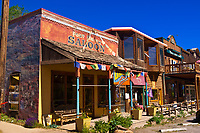 "The Fort Smith Saloon building (now the Unicas Southwest handicraft store), an historic building featured in the Western movie ""True Grit"", Ridgway, Colorado USA"