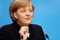 23 JAN 2006, BERLIN/GERMANY:<br /> Angela Merkel, CDU Bundesvorsitzende und Bundeskanzlerin, waehrend einer Pressekonferenz, Konrad-Adenauer-Haus<br /> Angela Merkel, Federal Chancellor of Germany, during a press conference, Konrad-Adenauer-Haus<br /> IMAGE: 20060123-02-007