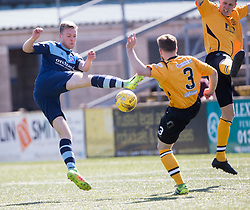 Forfar Athletic's Josh Malone and Annan Athletic's Jean Guy Lucas. half time : Forfar Athletic 1 v 3 Annan Athletic, Scottish Football League Division Two game played 6/5/2017 at Station Park.
