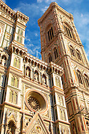 The Dome Catheral - Detail Of facadeand bell tower ; Florence Italy .<br /> <br /> Visit our ITALY PHOTO COLLECTION for more   photos of Italy to download or buy as prints https://funkystock.photoshelter.com/gallery-collection/2b-Pictures-Images-of-Italy-Photos-of-Italian-Historic-Landmark-Sites/C0000qxA2zGFjd_k<br /> .<br /> <br /> Visit our MEDIEVAL PHOTO COLLECTIONS for more   photos  to download or buy as prints https://funkystock.photoshelter.com/gallery-collection/Medieval-Middle-Ages-Historic-Places-Arcaeological-Sites-Pictures-Images-of/C0000B5ZA54_WD0s