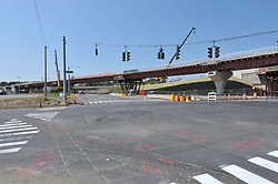 Pearl Harbor Memorial Bridge, New Haven Harbor Crossing Corridor. CT DOT Contract B1 Project No. 92-618 Progress Photography. Northbound West Approaches. Sixth on site photo capture of once every four month chronological documentation. South elevation at Forbes Avenue.