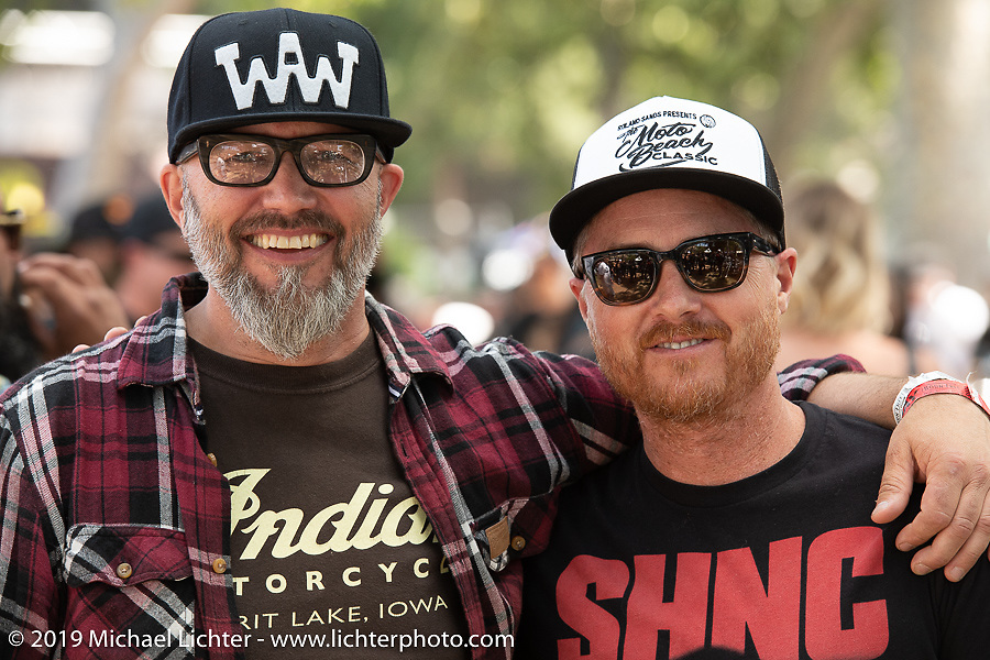 Indian Motorcycles Design Director Ola Stenegard (L) from Sweden with RSD's Roland Sands at the Born Free Motorcycle Show (BF11) at Oak Canyon Ranch, Silverado  CA, USA. Saturday, June 22, 2019. Photography ©2019 Michael Lichter.