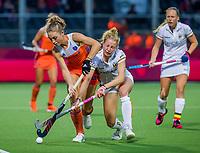 ANTWERPEN -  Laura Nunnink (Ned) met Michelle Struijk (Bel)  tijdens Nederland-Belgie vrouwen  bij het Europees kampioenschap hockey. COPYRIGHT KOEN SUYK