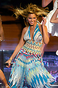 Beyonce performs during the NBA All-Star Game halftime show at the Staples Center on Sunday, Feb. 15, 2004 in Los Angeles.