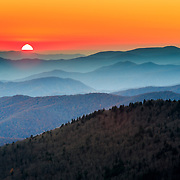 The Great Smoky Mountains at sunset from within Great Smoky Mountains National Park.