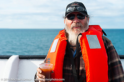Willie Earhart on the SS Badger Lake Michigan ferry during the Cross Country Chase motorcycle endurance run from Sault Sainte Marie, MI to Key West, FL (for vintage bikes from 1930-1948). Stage 2 from Ludington, MI to Milwaukee, WI, USA. Saturday, September 7, 2019. Photography ©2019 Michael Lichter.