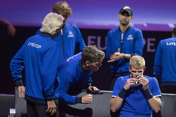 September 21, 2018 - Chicago, Illinois, U.S - KYLE EDMUND of Great Britain is cheered-on by Team Europe's assistant coach THOMAS ENQVIST during the second singles match on Day One of the Laver Cup at the United Center in Chicago, Illinois. (Credit Image: © Shelley Lipton/ZUMA Wire)